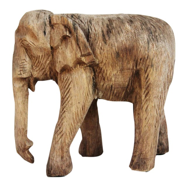 Thai Wood Carved Elephant For Sale