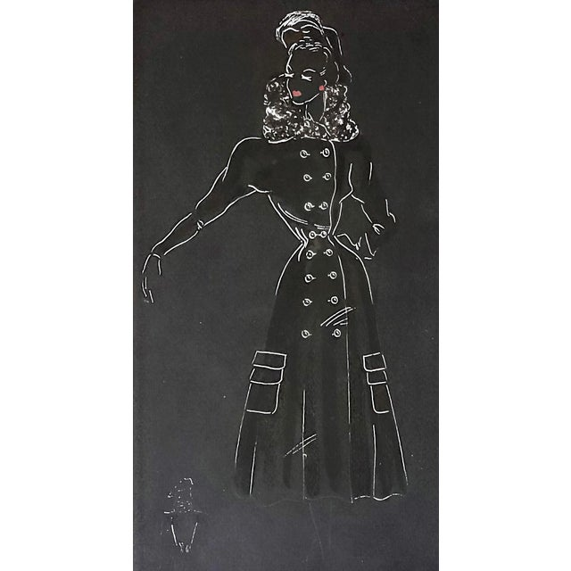 Matted Mid-Century French Fashion Drawing-1940s For Sale - Image 4 of 5