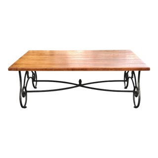 Ethan Allen Legacy Iron and Wood Coffee Table For Sale