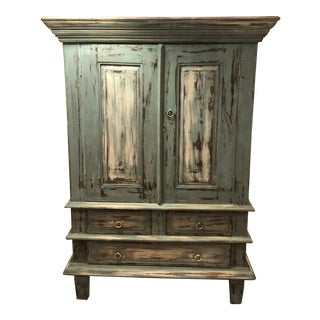 1970s Vintage French Country Distressed Cabinet For Sale
