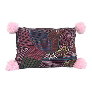 Pom Pom Mola Decorative Pillow For Sale
