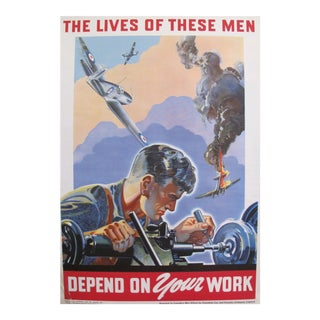 1940s Ww2 Canadian Propaganda Poster, Lives of These Men Depend on Your Work