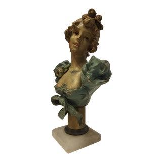 Art Nouveau Bronze Woman Bust For Sale