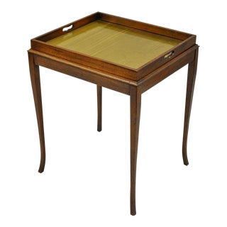 Brandt Inlaid Chess Checkers Game Table Brass Flip Lift Out Tray Mahogany Wood