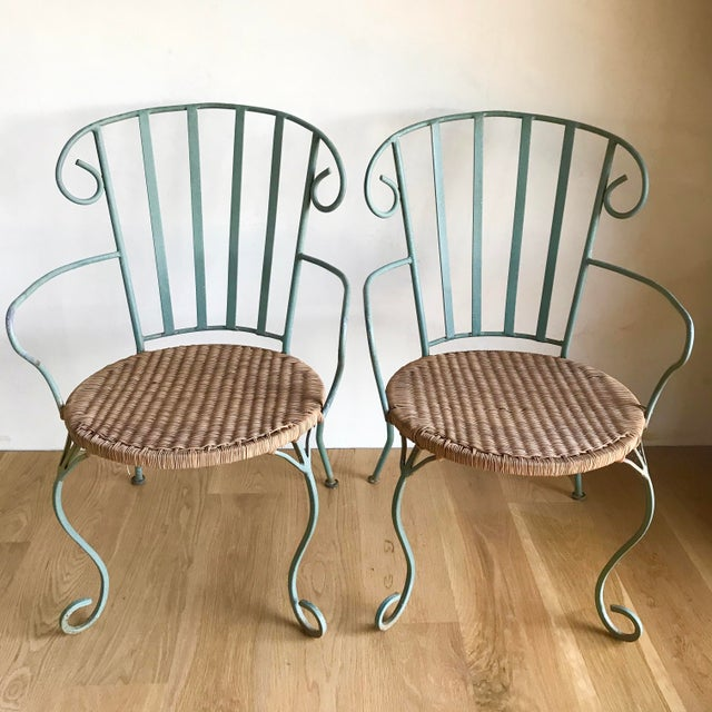 Late 20th Century Vintage Verdigris Iron and Woven Rattan Dining or Patio Chairs-Set of Four For Sale - Image 5 of 13