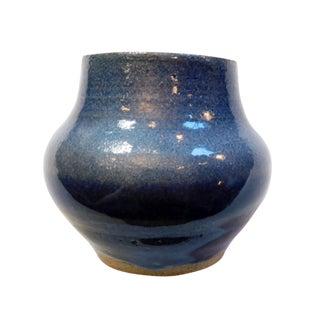Petite Studio Blue Ceramic Vase For Sale