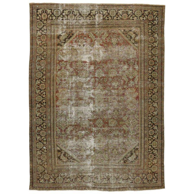 Green Distressed Antique Persian Mahal Rug with Modern Industrial Style For Sale - Image 8 of 8