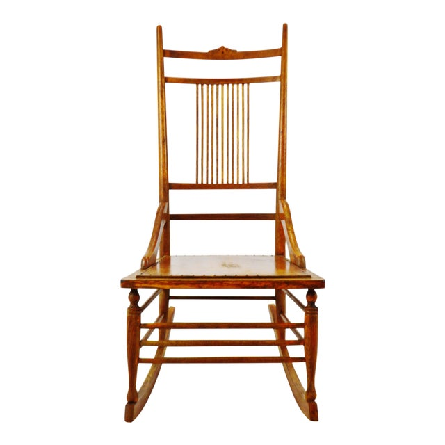 Antique Wood Spindle Back Rocking Chair - Antique Wood Spindle Back Rocking Chair Chairish