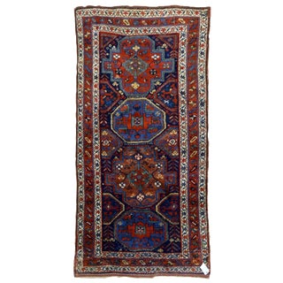"1880s Handmade Antique Persian Kurdish Rug - 4'5"" x 8'7"" For Sale"
