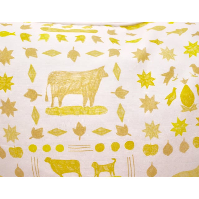 "Lulie Wallace ""Two by Two"" Square Pillows in Citron - a Pair For Sale - Image 4 of 6"