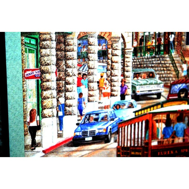 """Contemporary 1993 """"Street Scene"""" Framed and Matted Color Print Signed Johnny Ray For Sale - Image 3 of 11"""