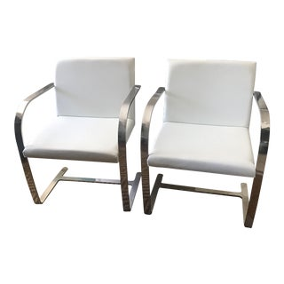 White Leather Modern Classics Brno Chairs - a Pair For Sale