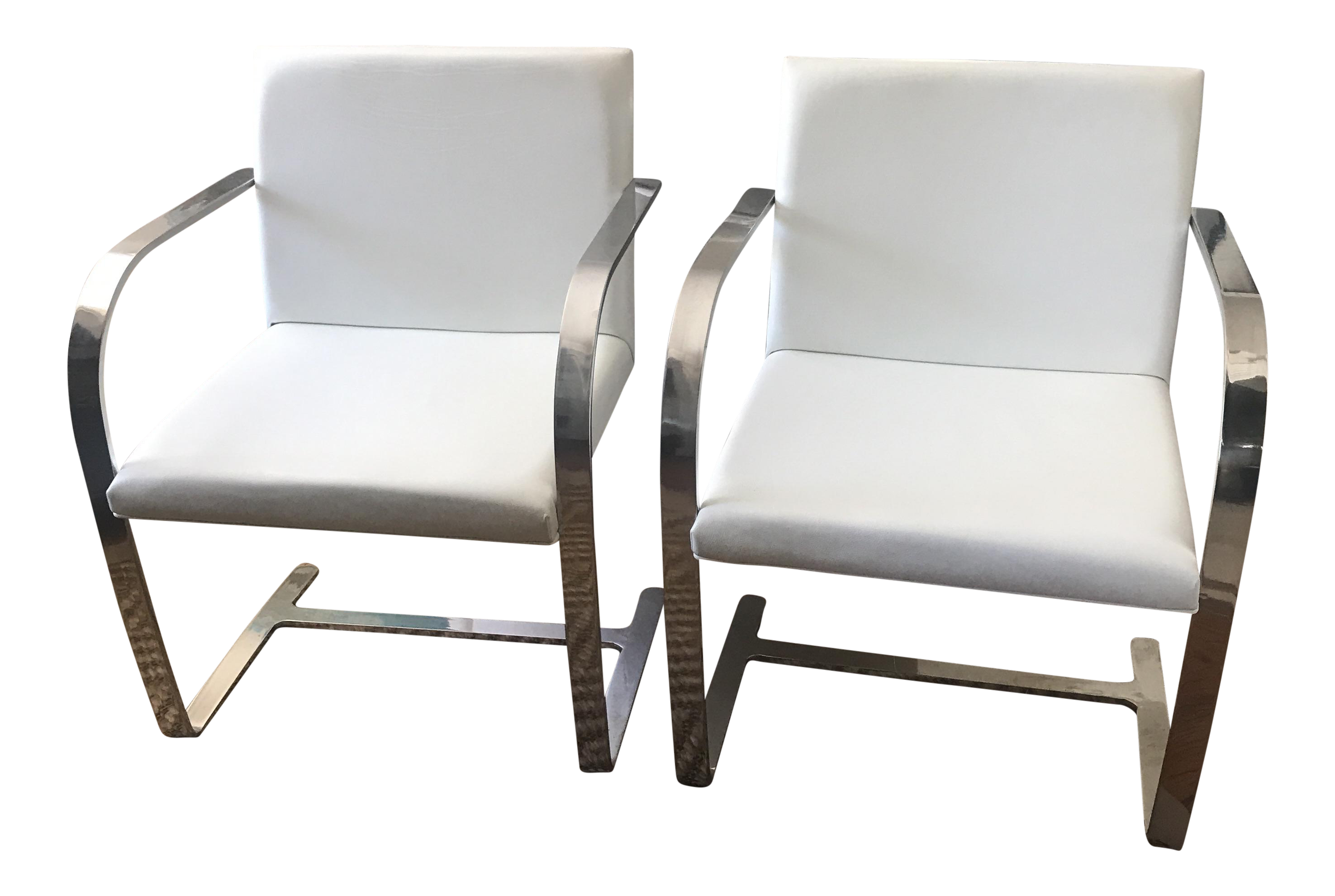 White Leather Modern Classics Brno Chairs   A Pair For Sale