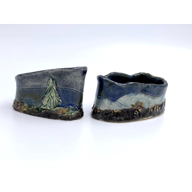 2010s Handmade Ceramic Business Card Holders With Painted and Textured Landscapes - a Pair For Sale - Image 5 of 9