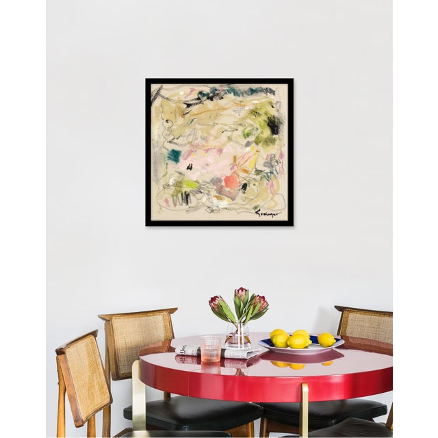 Giclée on textured fine art paper with black frame. Unframed print dimensions: 20.75x20.75. Seeking to create an abstract...