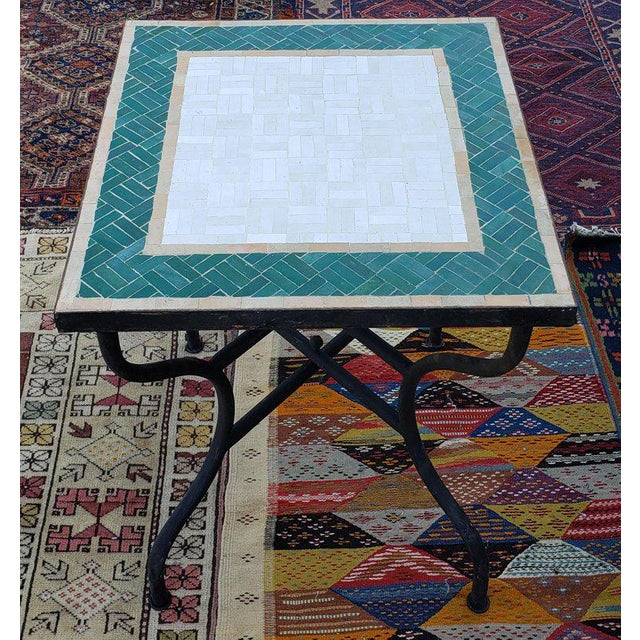 Moroccan White and Green Square Mosaic Dining Table For Sale In Orlando - Image 6 of 7