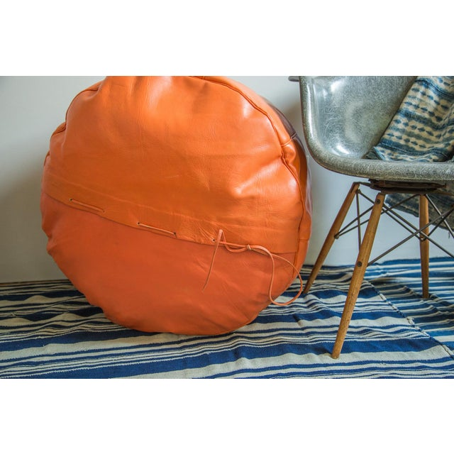 Antique Revival Orange Leather Pouf Ottoman For Sale - Image 5 of 8