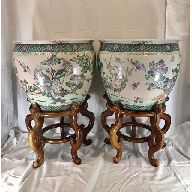 Ceramic 20th Century Chinese Qing Famille Verte Porcelain Jardinieres / Planters - a Pair For Sale - Image 7 of 13