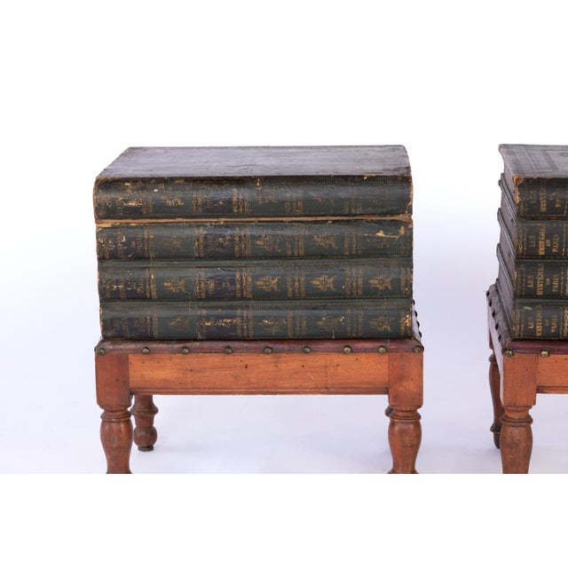 Late 19th Century French Faux Book Box End Tables on Turned Fruitwood Legs, Circa 1880 - a Pair For Sale - Image 5 of 9