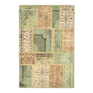 """Turkish Over-Dyed Distressed Patchwork Area Rug - 3'11"""" X 5'11"""""""