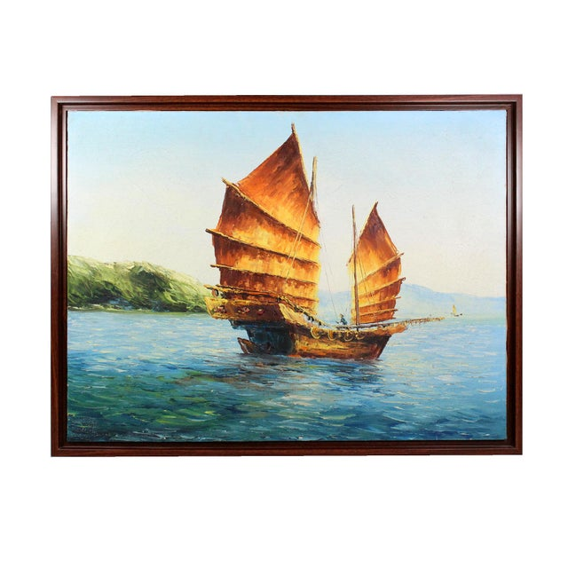 """Original 60s Oil Painting of a Chinese """"Junk"""" For Sale - Image 4 of 4"""