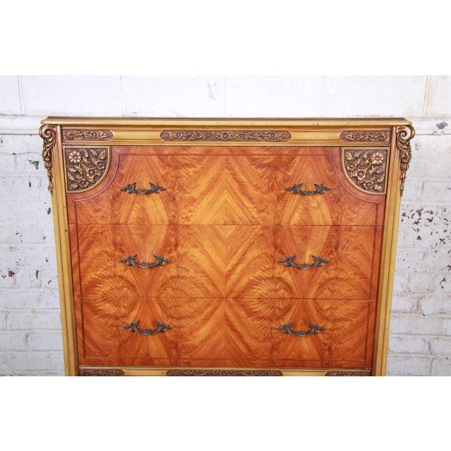 Romweber Romweber French Provincial Louis XV Burled Mahogany Highboy Dresser For Sale - Image 4 of 13