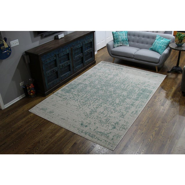 "Vintage Faded Persian Teal Distressed Rug - 5'3"" X 7'7"" For Sale - Image 7 of 7"