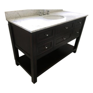 Classic Pottery Barn Espresso Sink Vanity For Sale