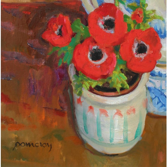 This circa late 20th century oil on canvas still life with anemone flowers and a ceramic dove is by Frederick Pomeroy...
