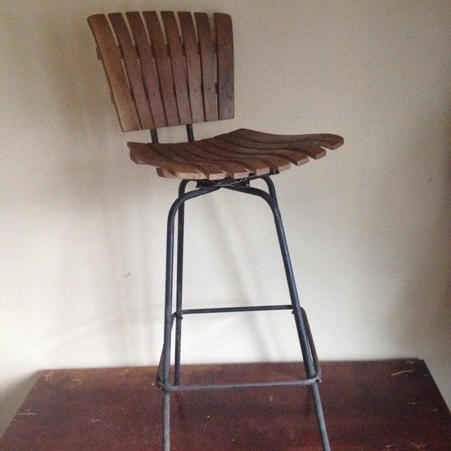Mid Century Umanoff Style Wooden Slat Stool - Image 2 of 10