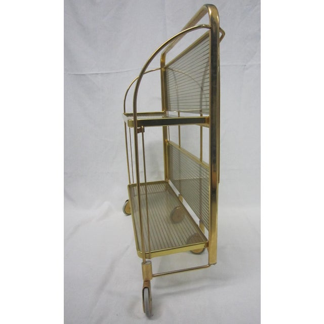 Gold Tone Folding Bar Cart - Image 3 of 5