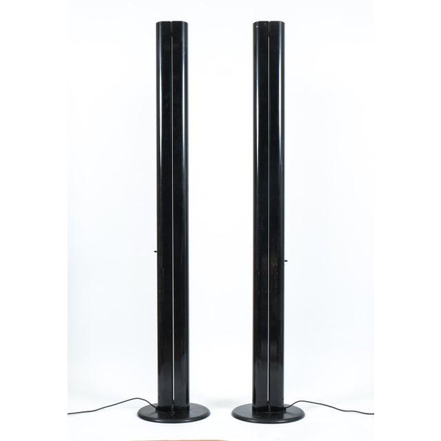 Pair of Black Megaron Floor Lamps by Gianfranco Frattini for Artemide For Sale - Image 6 of 6