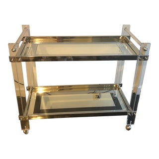 1970s Mid-Century Modern Lucite Chrome Bar Cart For Sale
