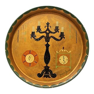 1960s Georges Briard Gold Black Painted Candelabra Clock Tole Round Cocktail Tray For Sale