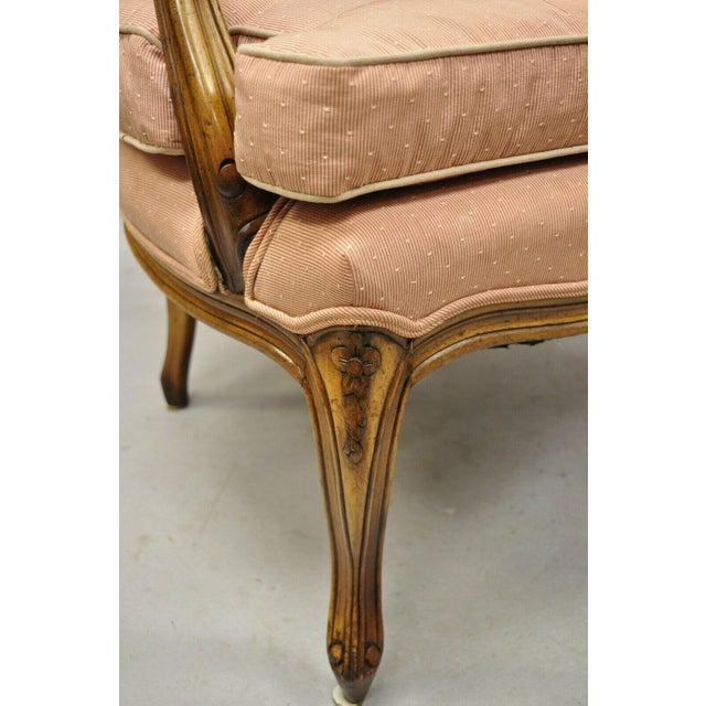 French Louis XV Provincial Style Carved Walnut Cane Back Arm Chairs - a Pair For Sale - Image 9 of 11