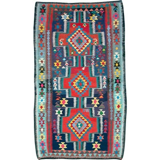 "Vintage Persian Flatweave Kilim Rug – Size: 5' 10"" X 9' 11"" For Sale"