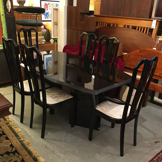 Black Lacquered Dining Set - Image 3 of 6