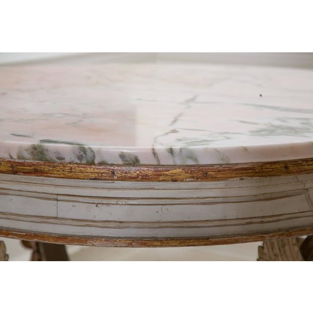 19th Century Swedish Circular White Painted and Parcel-Gilt Table - Image 4 of 8