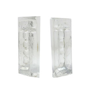 Mid-Century Modern Cast Glass Bookends by Colony For Sale