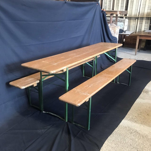 Metal Vintage Collapsible German Beer Garden Table and Bench - a Set For Sale - Image 7 of 7