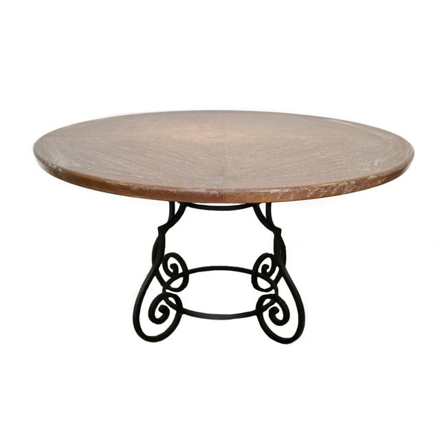 1950s 1950s Iron & Oak Ceruse Dining Table For Sale - Image 5 of 5