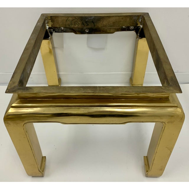 Asian Heavy Casted Brass & Marble Asian Style Table Att. Mastercraft For Sale - Image 3 of 7