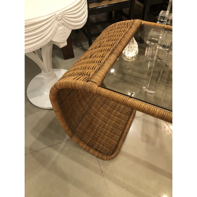 1970s Vintage Scroll Natural Wicker Console Table For Sale - Image 5 of 13