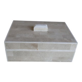 Bone Panel Box With Carved Feature on Lid For Sale