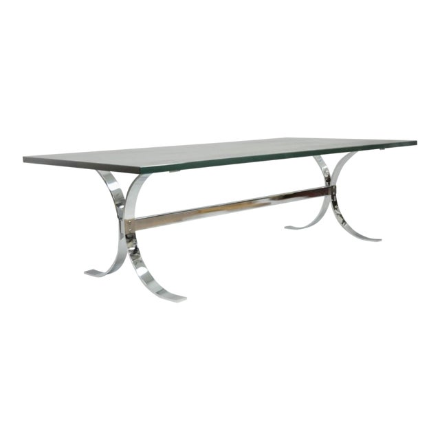Mid-Century Modern Chrome Butterfly Base Glass Top Coffee Table Baughman Style For Sale