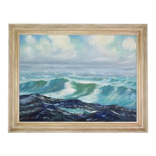 Vintage Mid-Century Ocean Seascape Oil Painting in Washed Cream Wood Frame - Signed For Sale