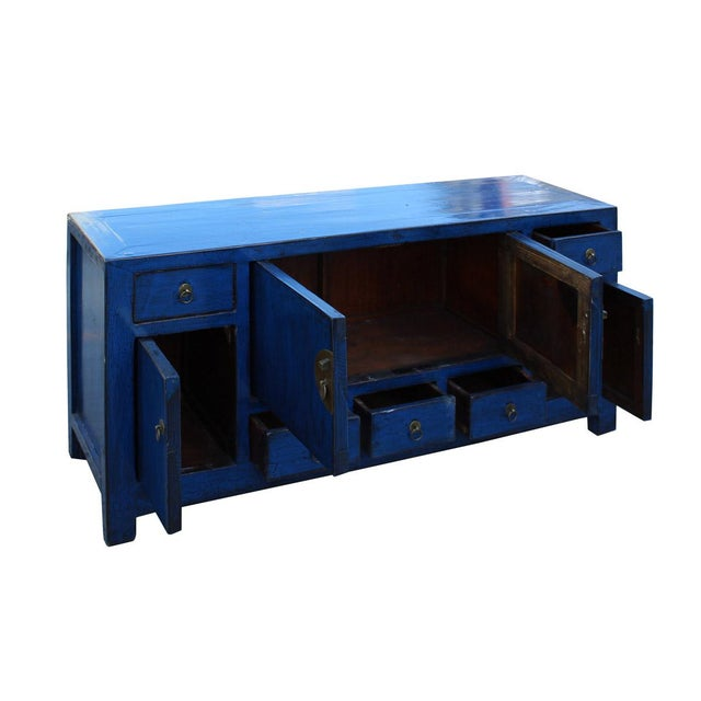 Chinese Indigo Blue Low Tv Console Table Cabinet Chairish