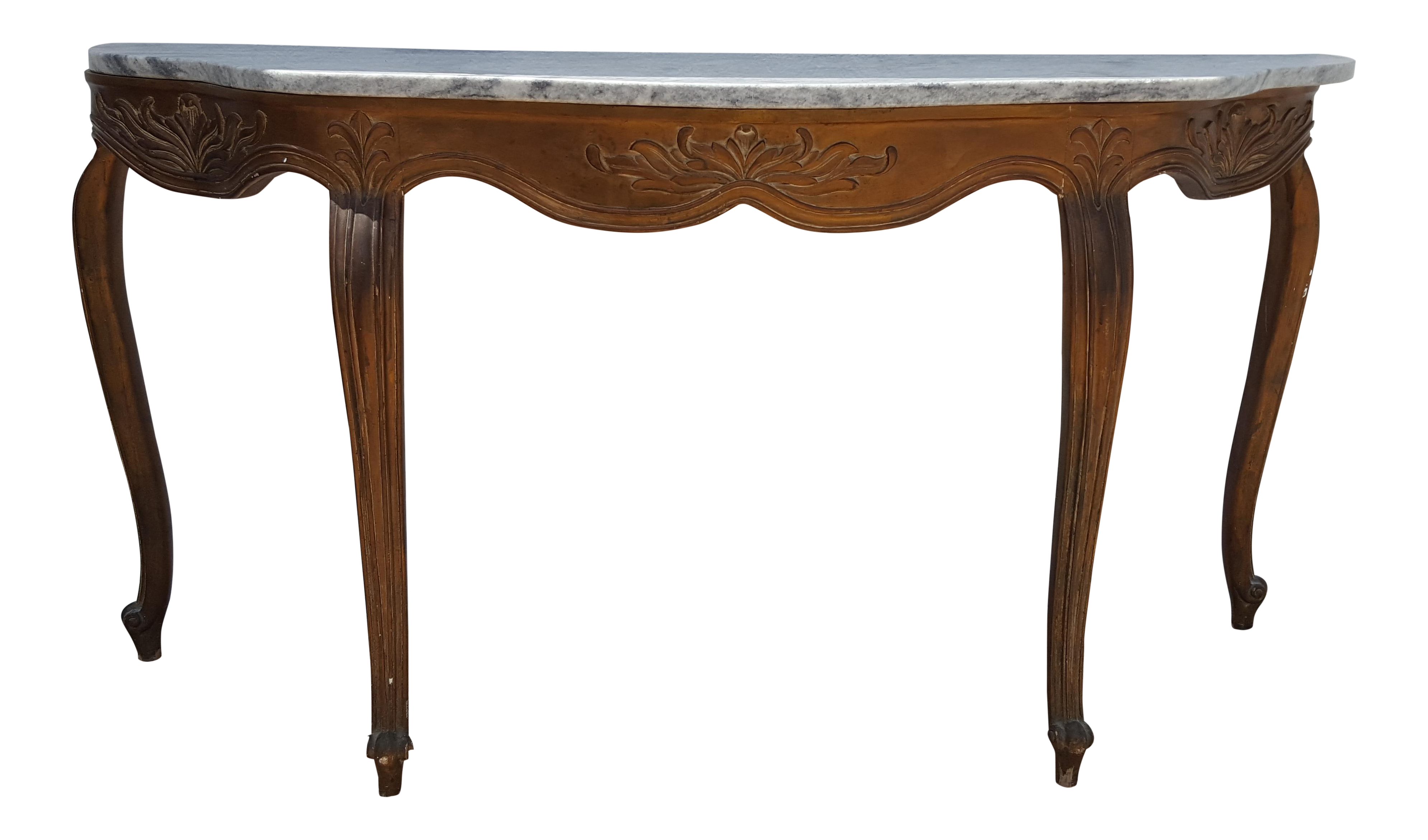 Italian Carved Wood Cabriole Legs With Marble Top Console Table