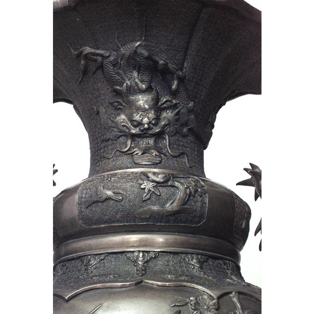 Pair of Asian Japanese Style Bronze Palace Urns For Sale - Image 4 of 8