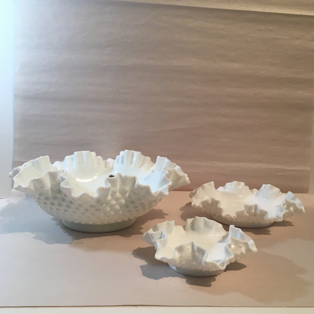 White Fenton Hobnail Milk Glass Crimped Bowls - Set of 3 For Sale - Image 8 of 9